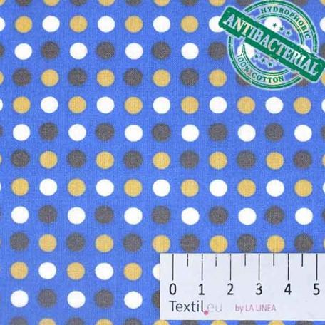 Puntíky, Dětské - Bavlněné plátno - Modrá - Antibakteriální
