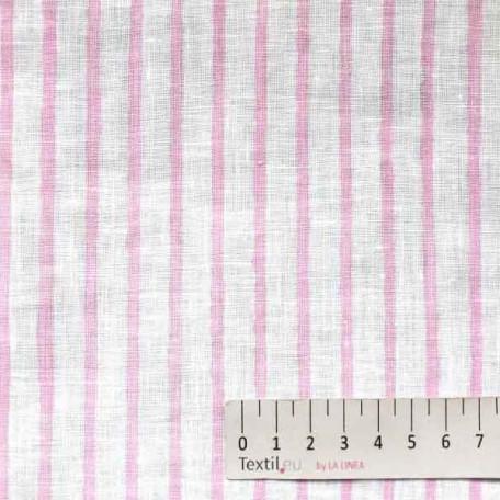 Pruhy - Lněné plátno - Růžová - 100% len