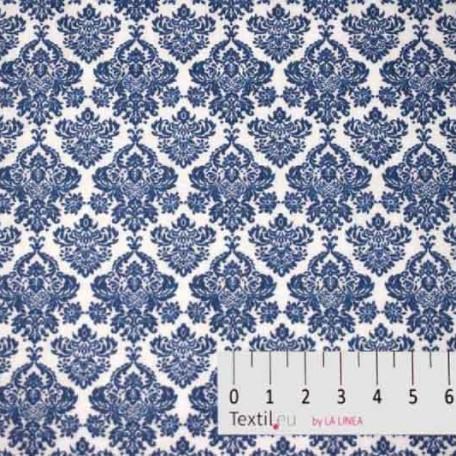 Květiny, Ornamenty - Bavlněné plátno - Modrá - 100% bavlna