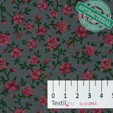 Flowers - Cotton plain - Grey - 100% cotton