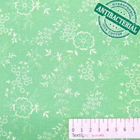 Květiny - Bavlněné plátno - Zelená - Antibakteriální