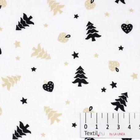 Vánoce - Bavlněné plátno - Černá, Béžová - 100% bavlna