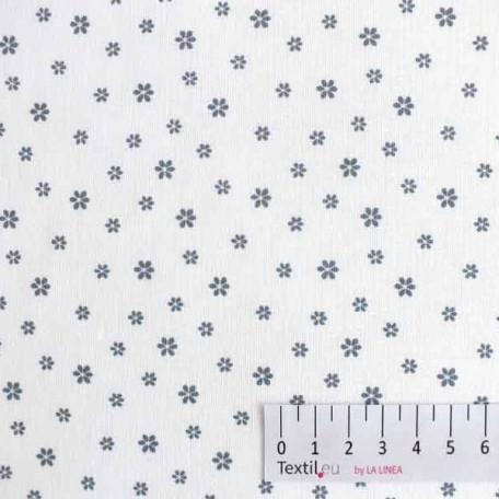 Květiny - Bavlněné plátno - Šedá, Bílá - 100% bavlna