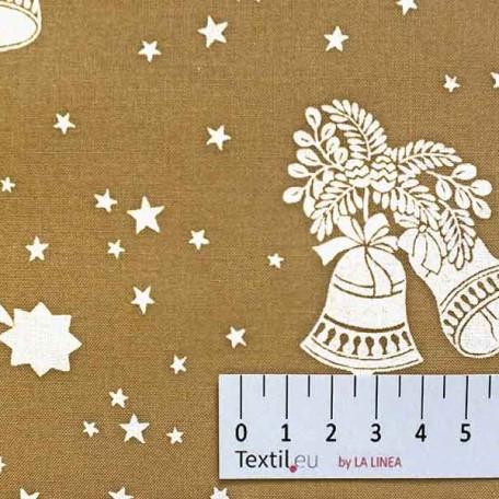 Vánoce, Hvězdy - Bavlněné plátno - Béžová - 100% bavlna