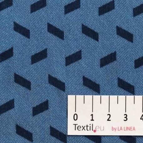 Kostky - Bavlněný satén - Modrá - 100% bavlna