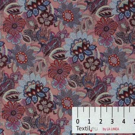 Květiny - Bavlněné plátno - Růžová, Modrá - 100% bavlna