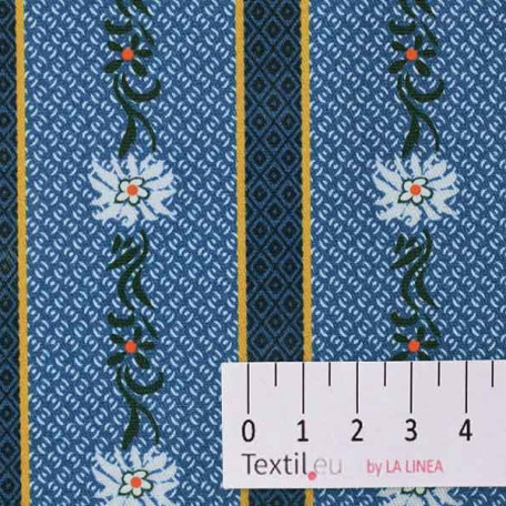 Květiny, Pruhy - Bavlněný kepr - Modrá - 100% bavlna/100% PVC