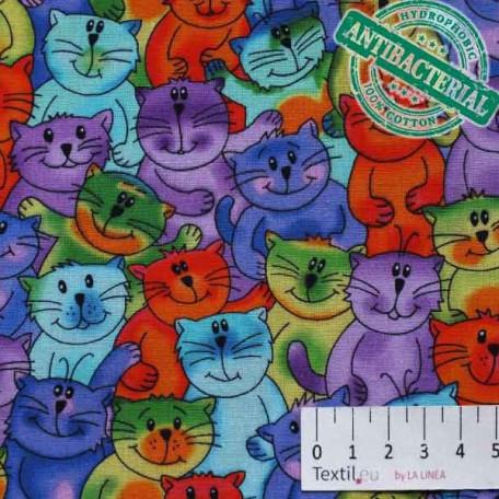 Zvířata, Dětské - Bavlněné plátno - Fialová, Modrá - Antibakteriální
