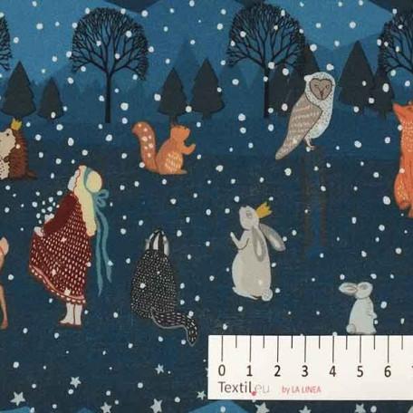 Vánoce, Dětské - Bavlněné plátno - Modrá - 100% bavlna