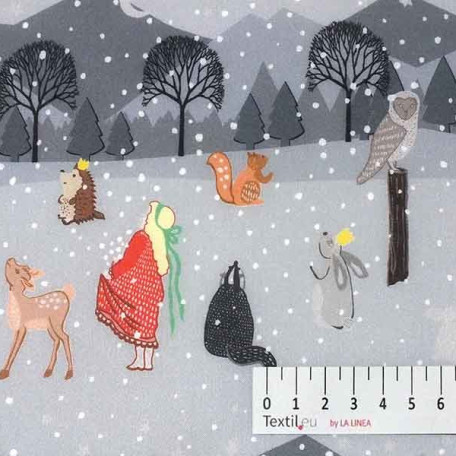 Vánoce, Dětské - Bavlněné plátno - Šedá - 100% bavlna