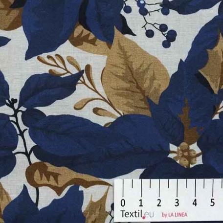 Květiny, Vánoce - Bavlněné plátno - Modrá, Béžová - 100% bavlna