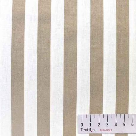 Pruhy - Bavlněné plátno - Béžová - 100% bavlna