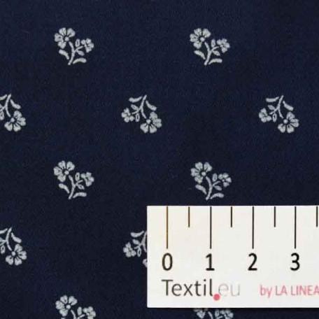 Květiny - Bavlněný satén - Modrá - 100% bavlna