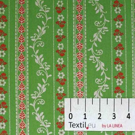 Pruhy, Květiny - Bavlněný satén - Zelená - 100% bavlna