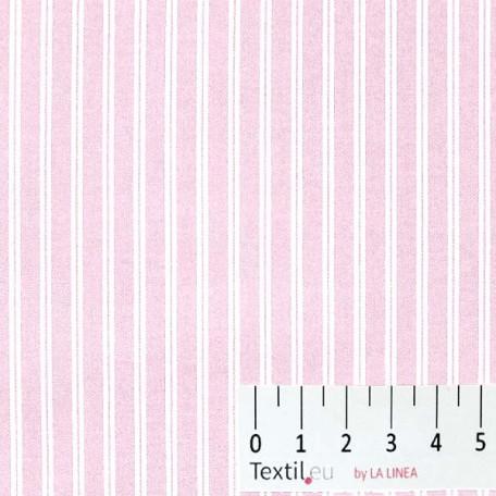 Pruhy - Bavlněné plátno - Růžová - 100% bavlna