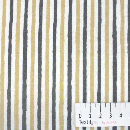 Pruhy, Dětské - Bavlněné plátno - Béžová, Šedá - 100% bavlna
