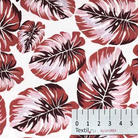 Květiny - Bavlněné plátno - Bílá, Růžová - 100% bavlna