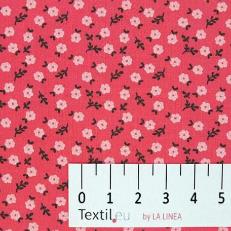Květiny - Bavlněný satén - Červená - 100% bavlna
