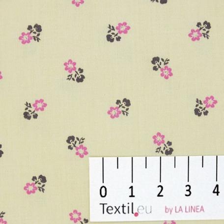 Květiny - Bavlněný satén - Žlutá - 100% bavlna