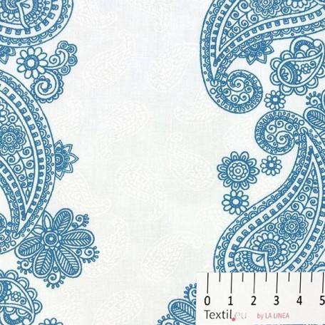 Ornamenty - Bavlněný satén - Modrá - 100% bavlna