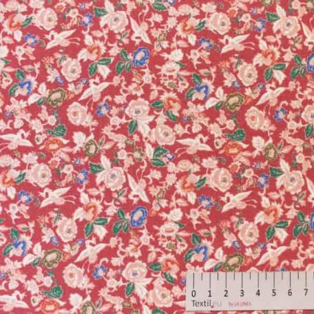 Květiny - Bavlněné plátno - Růžová, Vínová - 100% bavlna
