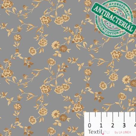 Květiny - Bavlněné plátno - Šedá - 100% bavlna