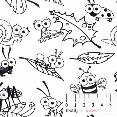 Dětské, Zvířata - Bavlněné plátno - Bílá, Černá - 100% bavlna