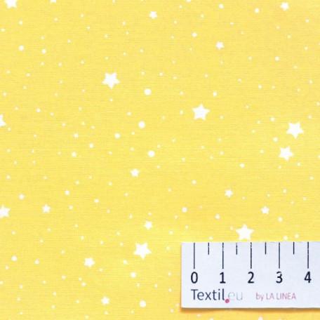Hvězdy, Dětské - Bavlněné plátno - Žlutá - 100% bavlna