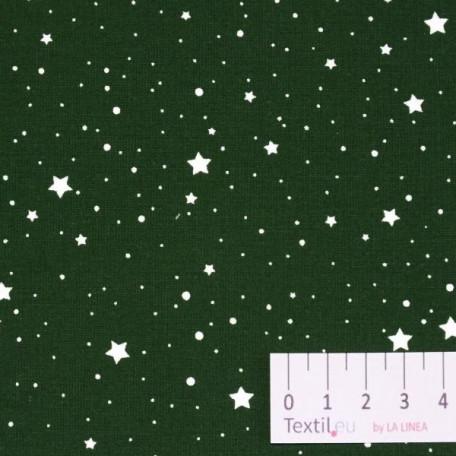 Hvězdy, Vánoce - Bavlněné plátno - Zelená - 100% bavlna