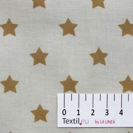 Hvězdy, Vánoce - Bavlněné plátno - Béžová, Bílá - 100% bavlna