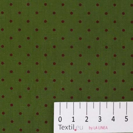 Puntíky - Bavlněný satén - Zelená - 100% bavlna