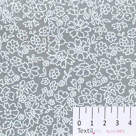 Květiny - Bavlněný satén - Šedá - 100% bavlna